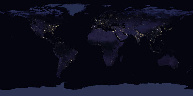 STK204760S © Stocktrek Images, Inc. Global map view of Earth's city lights at night.