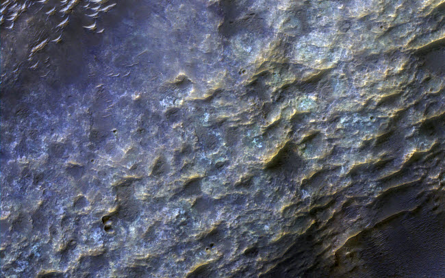 STK204772S © Stocktrek Images, Inc. Enhanced color close-up of the terrain, bedrock and dunes on the valley floor of Mars.