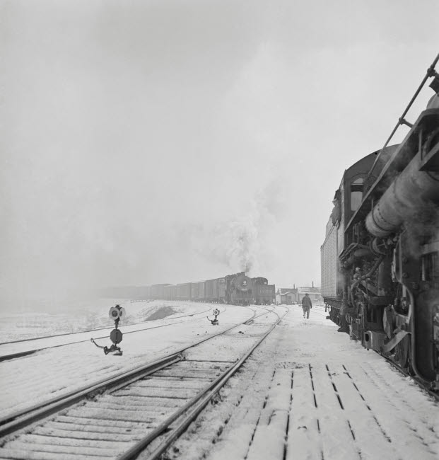 STK500569A © Stocktrek Images, Inc. January 1943 - Freight operations on the Indiana Harbor Belt railroad.