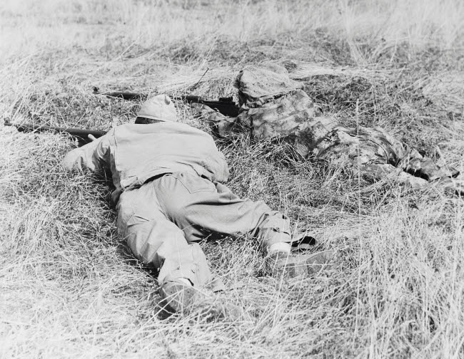STK500781A © Stocktrek Images, Inc. Two snipers blending in with their terrain, circa 1942.