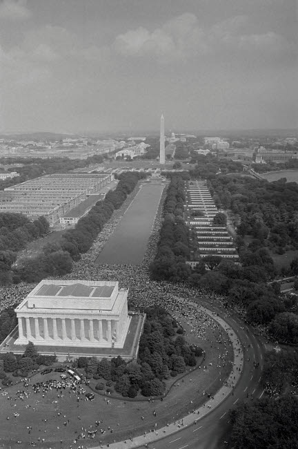 STK501191A © Stocktrek Images, Inc. Aerial view of civil rights marchers, from the Lincoln Memorial to the Washington Monument, 1963.