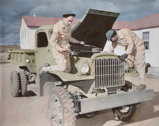 STK501264A © Stocktrek Images, Inc. Auxiliaries demonstrate their ability to service trucks at Fort Huachuca, Arizona.