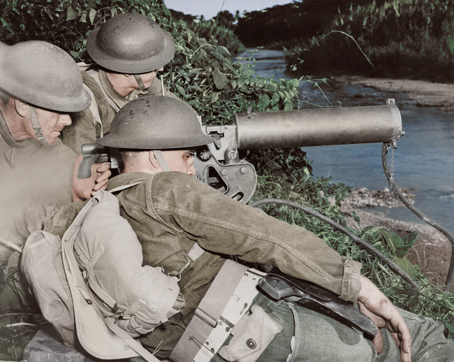 STK501295A © Stocktrek Images, Inc. A machine gun crew of American troops in the British West Indies, circa 1942.