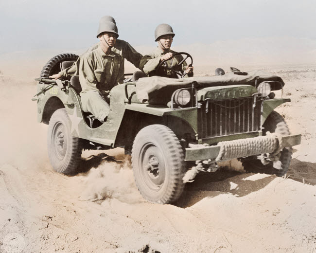 STK501315A © Stocktrek Images, Inc. A half-ton jeep at the desert training center in Indio, California, 1942.