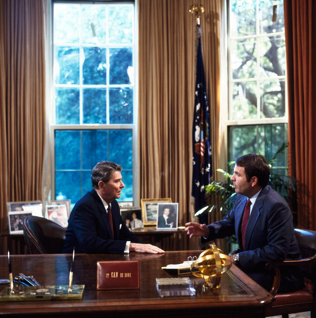 STK501366A © Stocktrek Images, Inc. A personal meeting with President Ronald Reagan in the Oval Office in the 1980s.