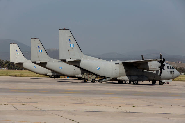 TZG100560M © Stocktrek Images, Inc. Hellenic Air Force C-27J Spartan transport aircraft at an airbase in Greece.