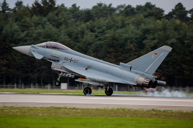 TZG100671M © Stocktrek Images, Inc. A Eurofighter lands after a test flight in Manching, Germany.