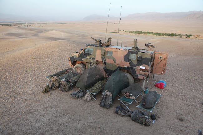 VWP100123M © Stocktrek Images, Inc. Dutch soldiers set up camp in the Afghanistan desert.