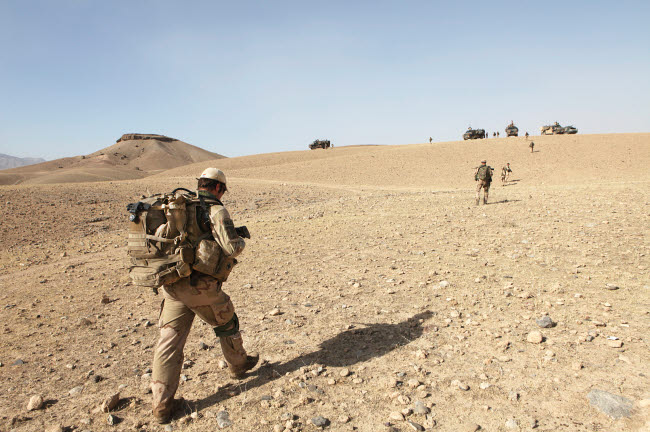 VWP100125M © Stocktrek Images, Inc. Dutch soldiers on foot patrol in Afghanistan.