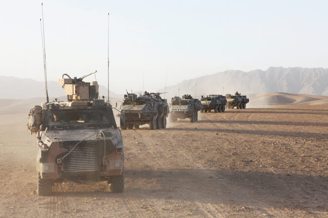VWP100126M © Stocktrek Images, Inc. Convoy of Dutch Army vehicles in Afghanistan.