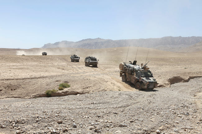 VWP100127M © Stocktrek Images, Inc. Convoy of Dutch Army vehicles in Afghanistan.