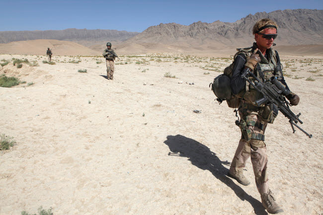 VWP100130M © Stocktrek Images, Inc. Dutch Army soldiers on foot patrol in Afghanistan.