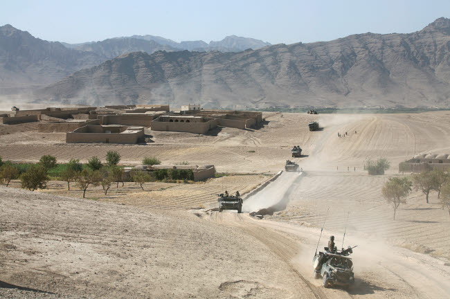 VWP100214M © Stocktrek Images, Inc. Convoy of Dutch Army vehicles in Afghanistan.