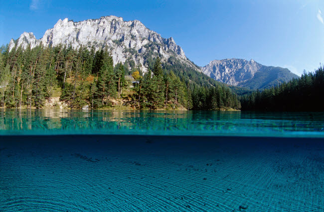 VWP401488U © Stocktrek Images, Inc. Tranquil view of Green Lake in Tragoss, Steiermark, Austria.
