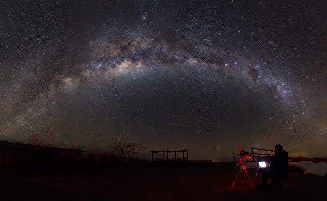 YZV200002S © Stocktrek Images, Inc. Astronomer with telescope looking at the Milky Way in the Atacama Desert, Chile.