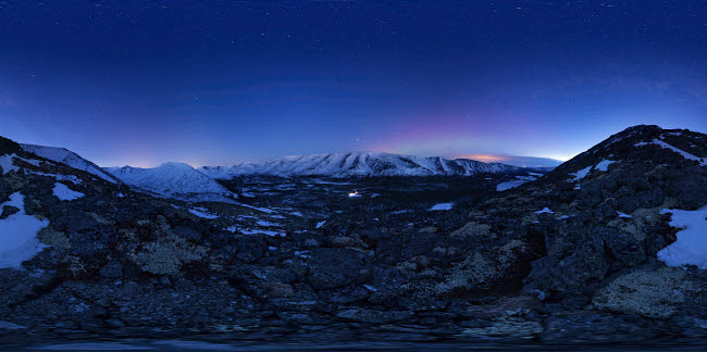 YZV200005S © Stocktrek Images, Inc. A starry sky in the winter Khibiny Mountains, Russia.