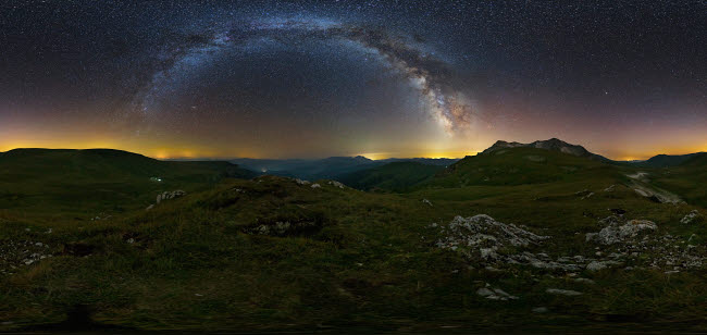 YZV200025S © Stocktrek Images, Inc. 360 panorama of the Milky Way over Lago-Naki plateau, Russia.