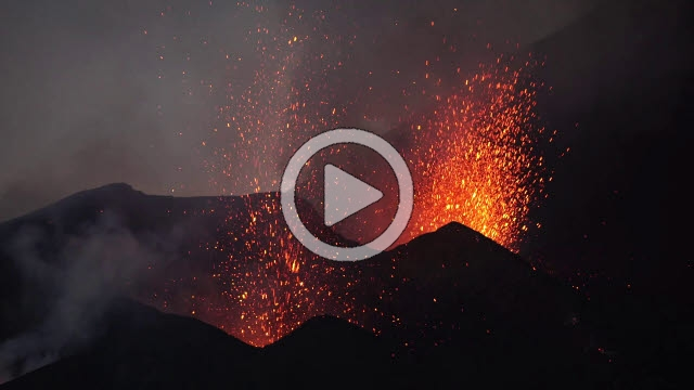 RRS800011F © Stocktrek Images, Inc. Dual-crater strombolian eruptions on Pico do Fogo volcano, Fogo, Cape Verde.