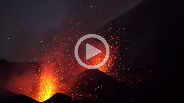 RRS800016F © Stocktrek Images, Inc. Dual-crater strombolian eruptions on Pico do Fogo volcano, Fogo, Cape Verde.