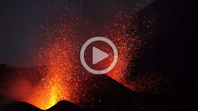 RRS800017F © Stocktrek Images, Inc. Dual-crater strombolian eruptions on Pico do Fogo volcano, Fogo, Cape Verde.