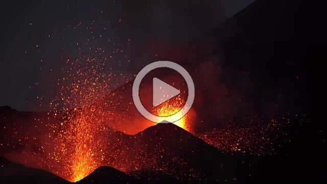 RRS800018F © Stocktrek Images, Inc. Dual-crater strombolian eruptions on Pico do Fogo volcano, Fogo, Cape Verde.