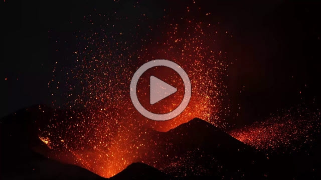 RRS800019F © Stocktrek Images, Inc. Dual-crater strombolian eruptions on Pico do Fogo volcano, Fogo, Cape Verde.