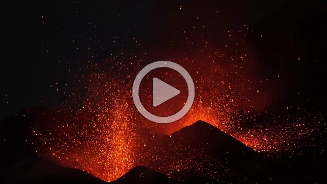 RRS800020F © Stocktrek Images, Inc. Dual-crater strombolian eruptions on Pico do Fogo volcano, Fogo, Cape Verde.