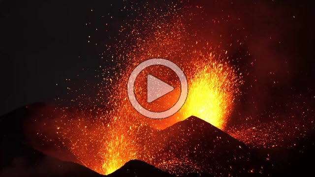 RRS800023F © Stocktrek Images, Inc. Dual-crater strombolian eruptions on Pico do Fogo volcano, Fogo, Cape Verde.