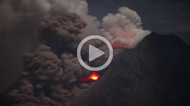 RRS800032F © Stocktrek Images, Inc. Time lapse footage of pyroclastic flows from Sinabung Volcano in Sumatra, Indonesia.