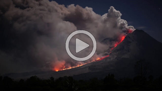 RRS800035F © Stocktrek Images, Inc. Time lapse footage of pyroclastic flows from Sinabung Volcano in Sumatra, Indonesia.