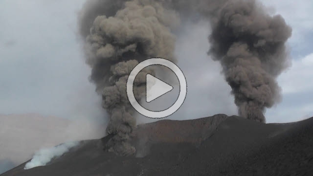 RRS800040F © Stocktrek Images, Inc. Eruptions from two adjoining vents of Pico do Fogo volcano, Fogo, Cape Verde.