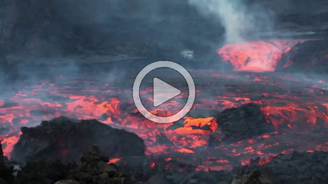 RRS800049F © Stocktrek Images, Inc. Time lapse of lava flows coming from a channel of Pico do Fogo volcano, Fogo, Cape Verde.