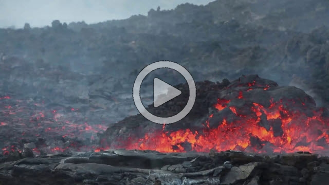 RRS800050F © Stocktrek Images, Inc. Time lapse of lava flows coming from a channel of Pico do Fogo volcano, Fogo, Cape Verde.