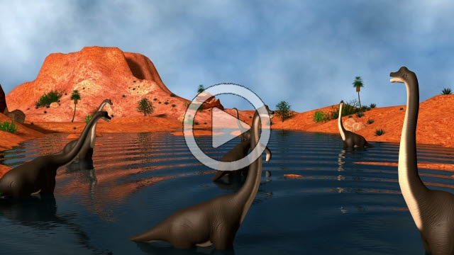 STK800251F © Stocktrek Images, Inc. Group of Brachiosaurus dinosaurs grazing in a prehistoric lake.